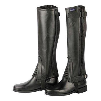Minichaps soft leather zwart, maat 12 jr
